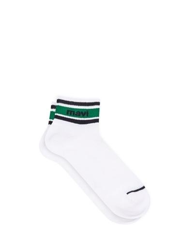 Mavi Mavi Logo Baskılı Patik Çorap Beyaz